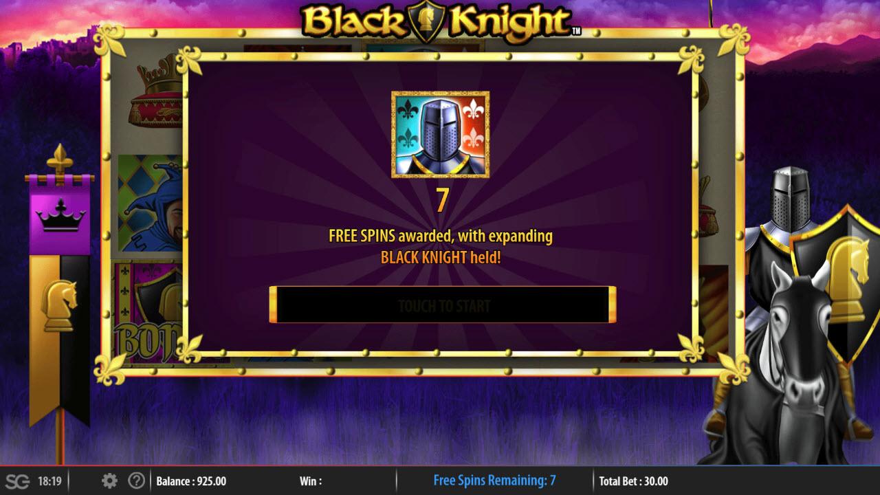 Black Knight :: 7 Free Spins Awarded