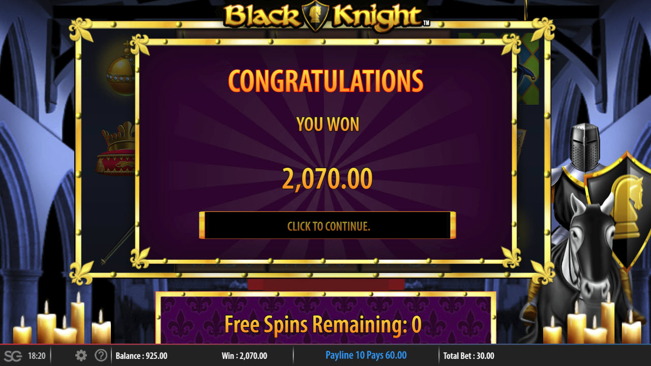 Black Knight :: Total free spins payout