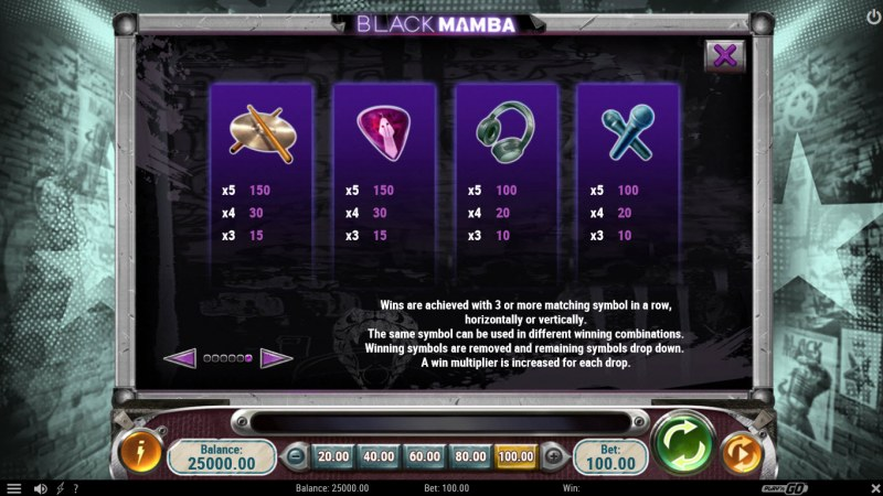 Black Mamba :: Paytable - Low Value Symbols