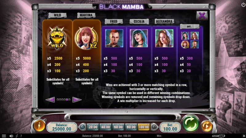 Black Mamba :: Paytable - High Value Symbols