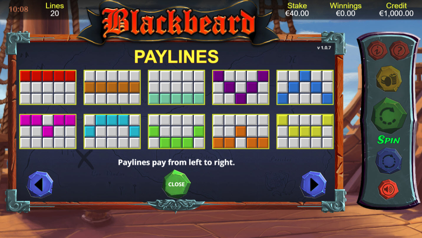 Blackbeard :: Paylines 1-10