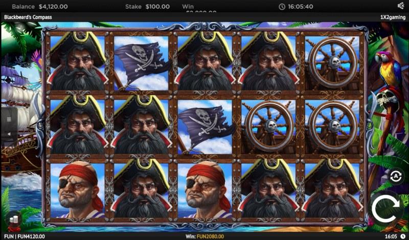 Blackbeard's Compass :: Multiple winning combinations leads to a big win