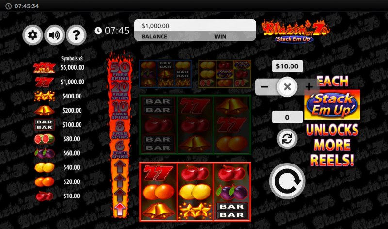 Blazin' Hot 7s Stack Em Up :: Main Game Board