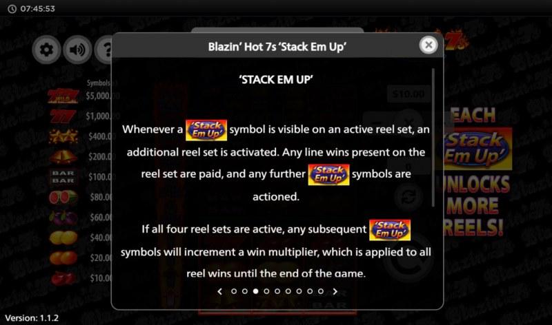 Blazin' Hot 7s Stack Em Up :: Scatter Symbol Rules