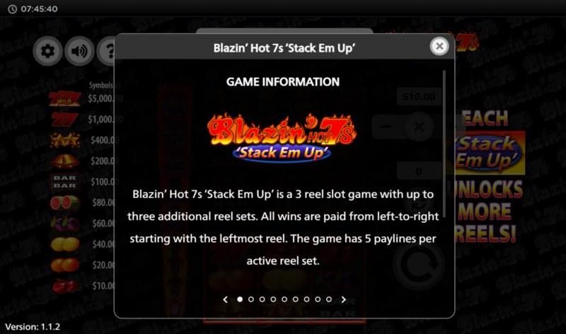 Blazin' Hot 7s Stack Em Up :: General Game Rules