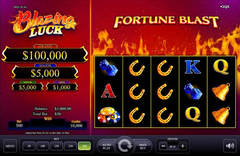 Blazing Luck :: Base Game Screen
