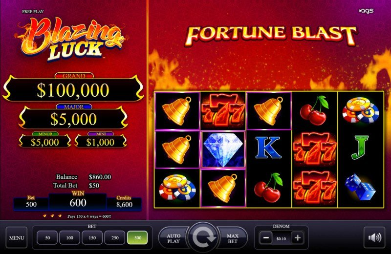 Blazing Luck :: A three of a kind win