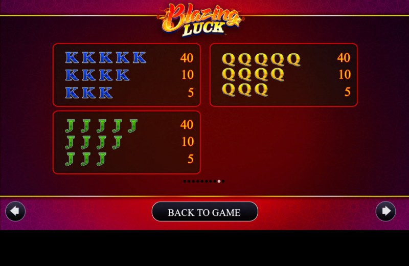 Blazing Luck :: Paytable - Low Value Symbols