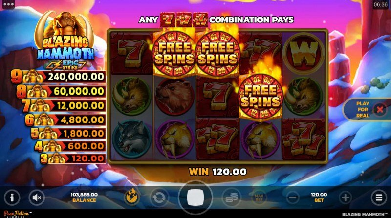 Blazing Mammoth Epic Strike :: Scatter symbols triggers the free spins bonus feature