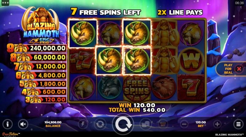 Blazing Mammoth Epic Strike :: A three of a kind win