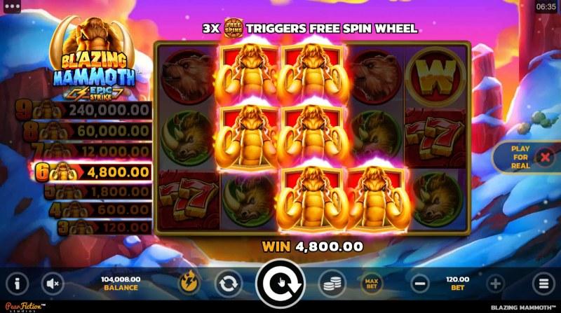 Blazing Mammoth Epic Strike :: A six of a kind win