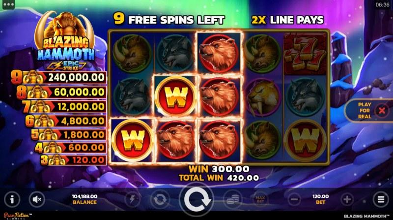 Blazing Mammoth Epic Strike :: Free Spins Game Board