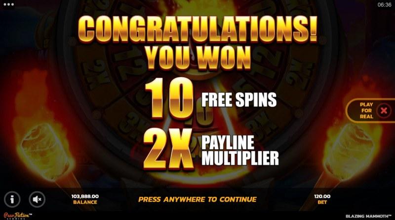 Blazing Mammoth Epic Strike :: 10 free spins awarded