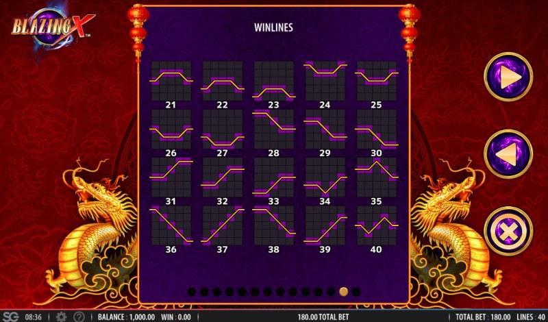 Blazing X :: Paylines 1-20
