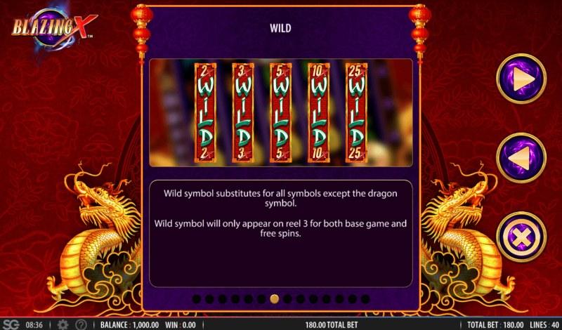 Blazing X :: Wild Symbols Rules