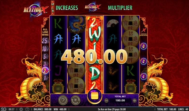 Blazing X :: Stacked wild symbol triggers multiple winning paylines