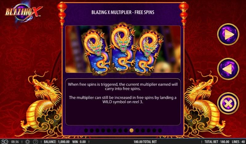 Blazing X :: Free Spins Rules