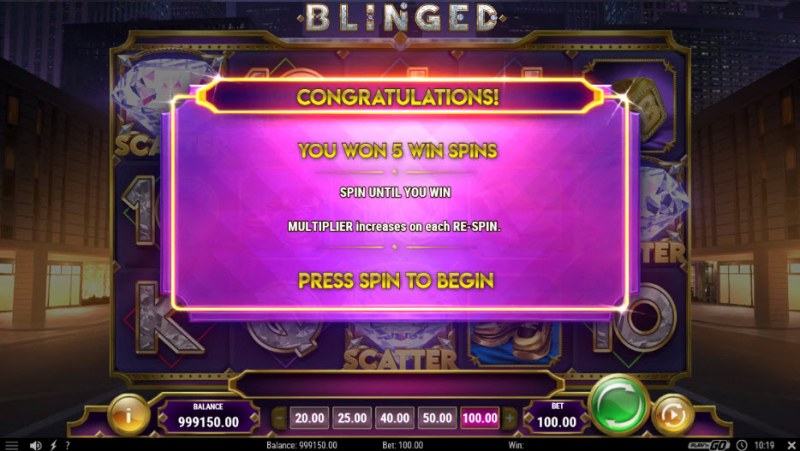 Blinged :: 5 free spins awarded