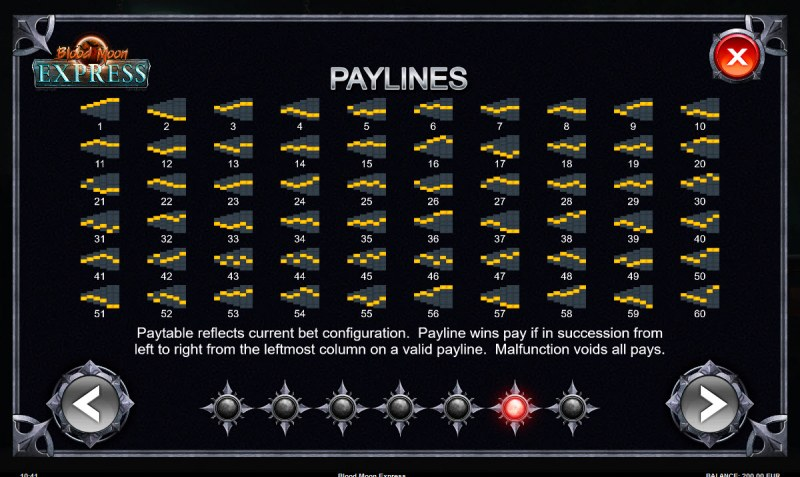 Blood Moon Express :: Paylines 1-60