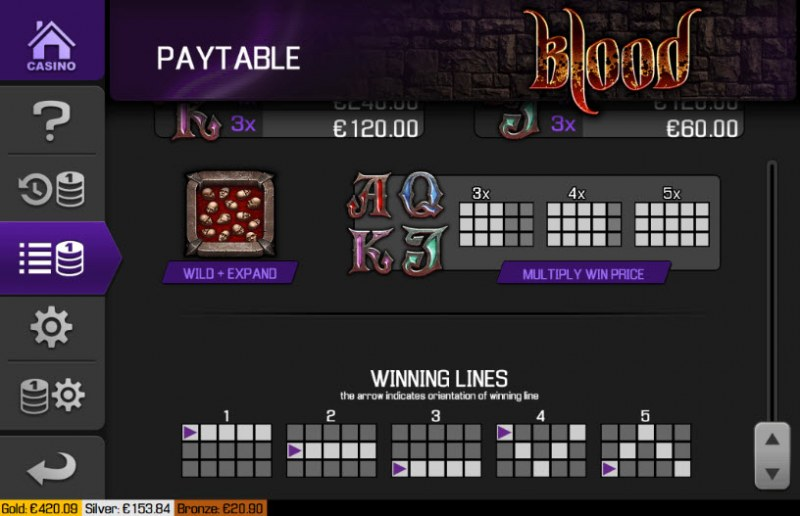 Blood :: Paylines 1-5