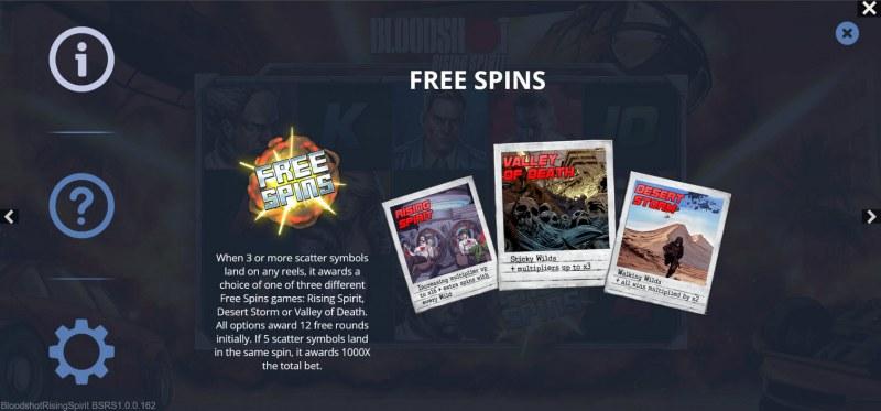 Bloodshot Rising Spirit :: Free Spin Feature Rules