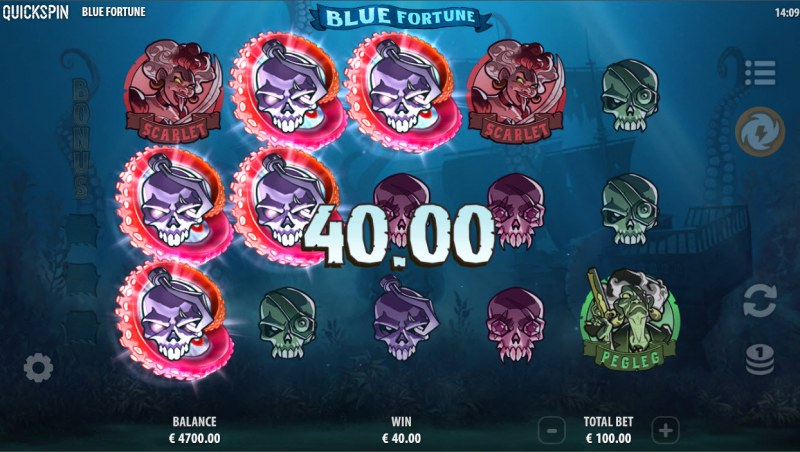 Blue Fortune :: Respin feature triggers with every winning combination