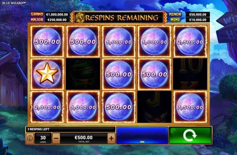 Blue Wizard :: Landing crystal ball symbols keeps awarding additional respins