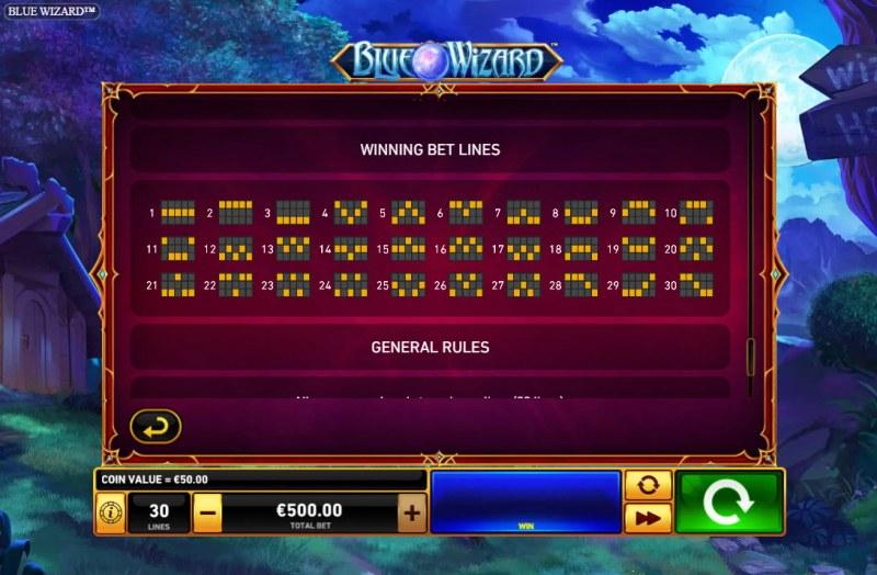 Blue Wizard :: Paylines 1-30