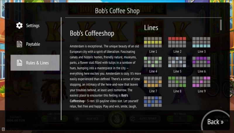 Bob's Coffee Shop :: Paylines 1-10