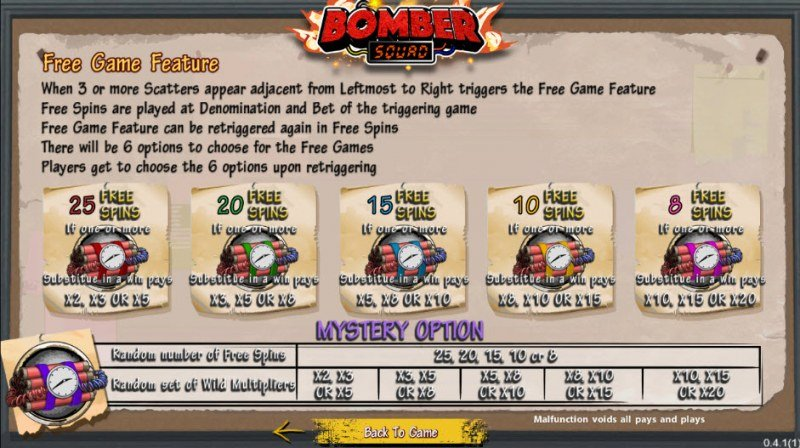 Bomber Squad :: Free Spins Rules