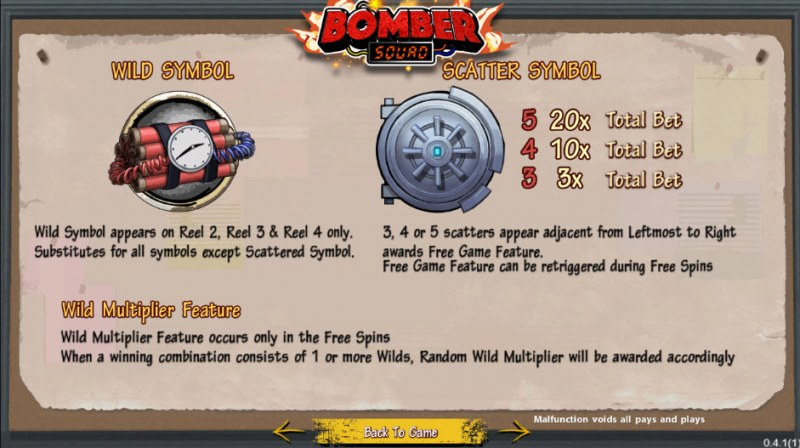 Bomber Squad :: Wild and Scatter Rules