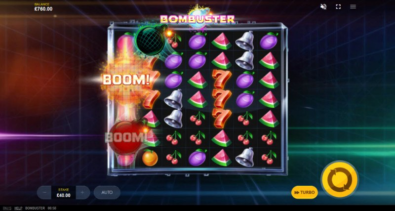 Bombuster :: Bombs landing on reels will trigger reel modifiers