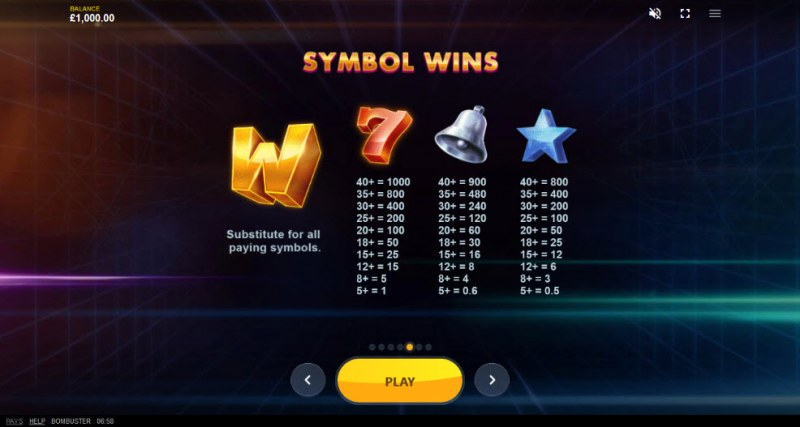 Bombuster :: Paytable - High Value Symbols