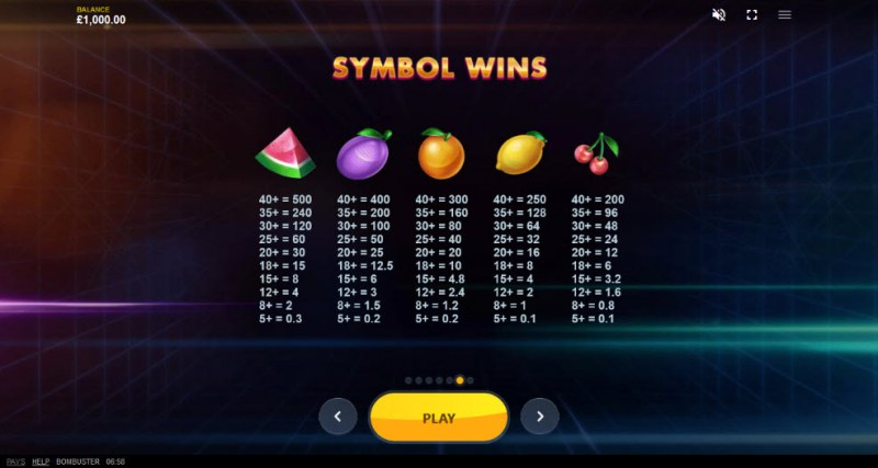 Bombuster :: Paytable - Low Value Symbols