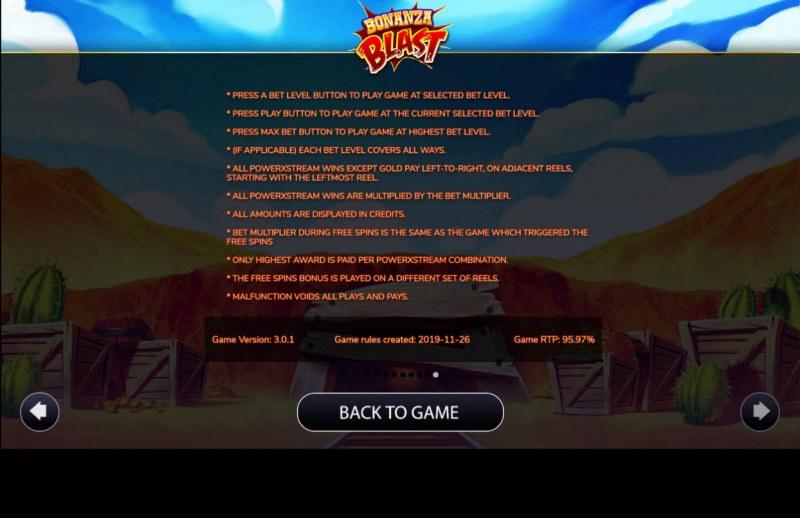 Bonanza Blast :: General Game Rules