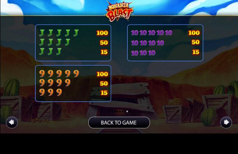 Bonanza Blast :: Paytable - Low Value Symbols