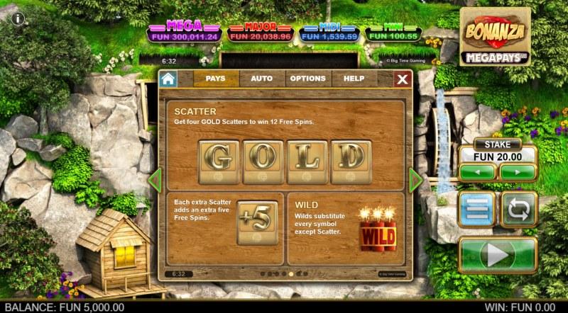 Bonanza Megapays :: Scatter Symbol Rules