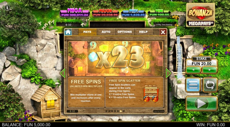 Bonanza Megapays :: Free Spin Feature Rules