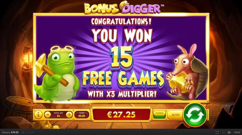 Bonus Digger :: 15 Free Games Awarded