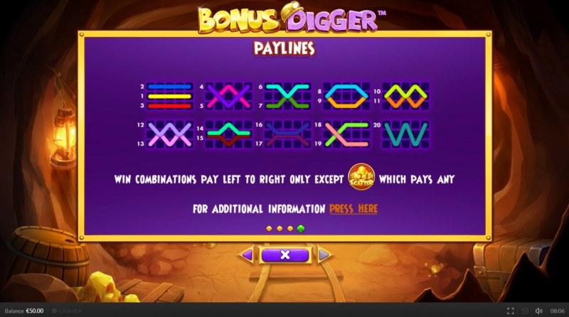 Bonus Digger :: Paylines 1-20