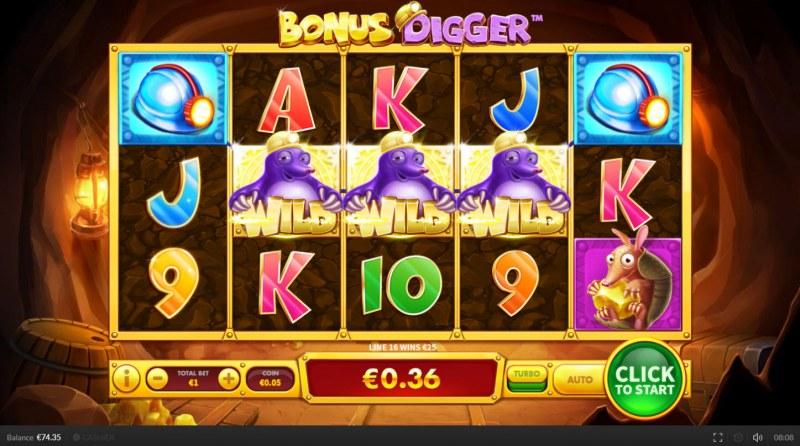 Bonus Digger :: Three wild symbols awards drww games
