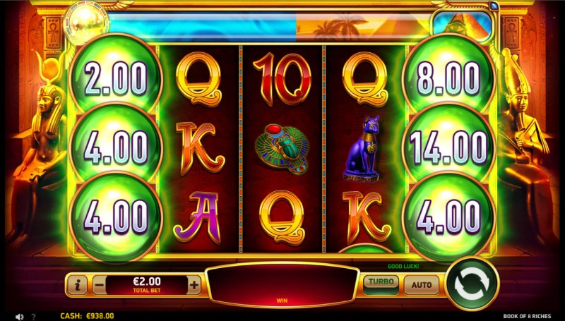 Book of 8 Riches :: Scatter symbols triggers the free spins bonus feature