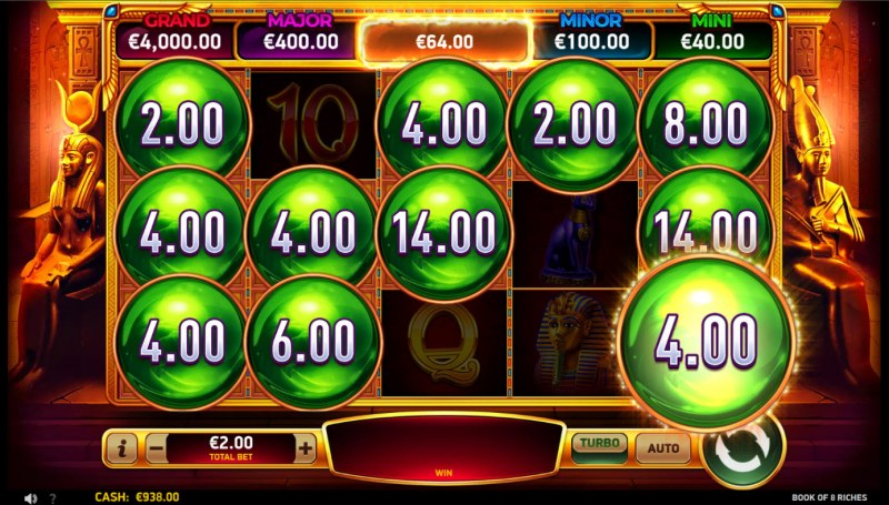 Book of 8 Riches :: Bonus play ends when no more money symbols land on the reels