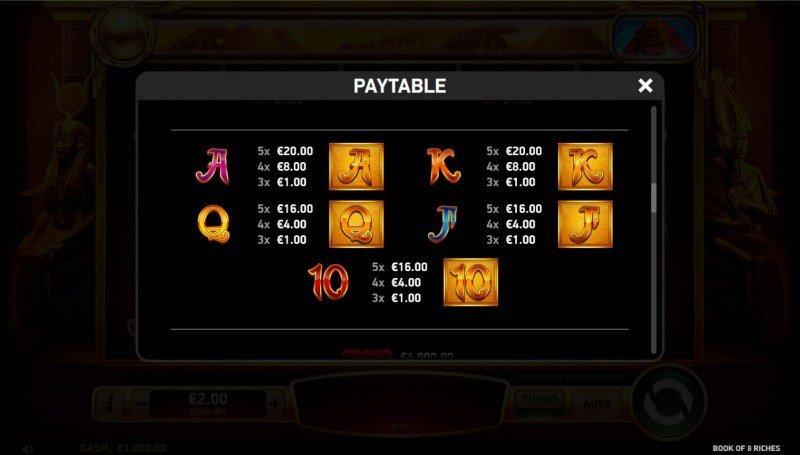 Book of 8 Riches :: Paytable - Low Value Symbols