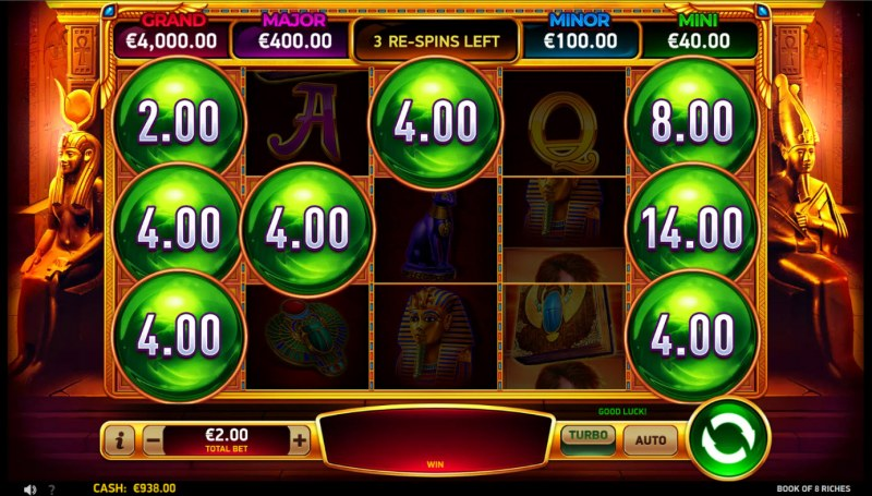 Book of 8 Riches :: 3 respins awarded, land additional scatters for extended bonus play