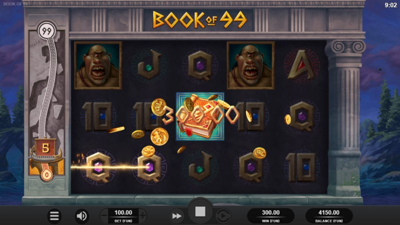 Book of 99 :: A three of a kind win