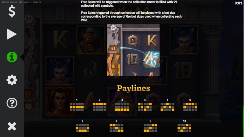 Book of 99 :: Paylines 1-10
