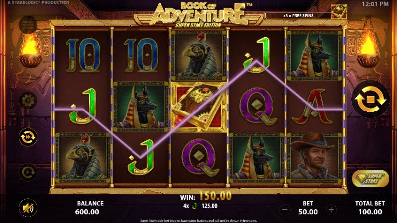 Book of Adventure Super Stake Edition :: Four of a kind Win