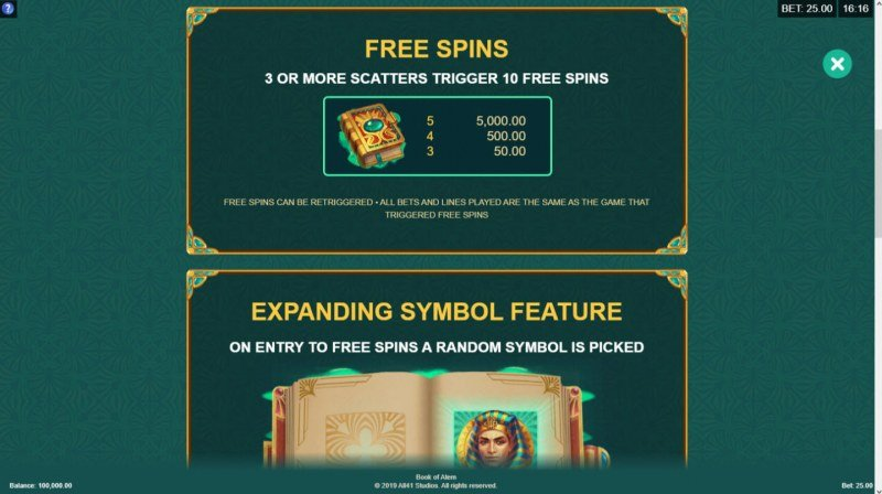 Book of Atem :: Free Spins Rules
