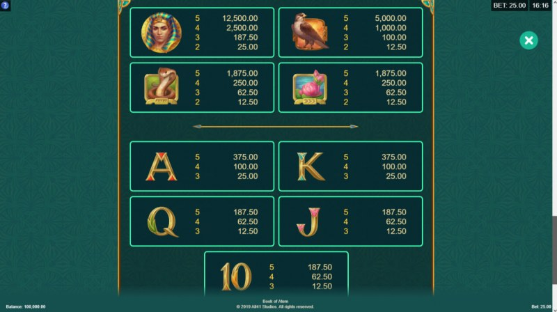 Book of Atem :: Paytable - High Value Symbols
